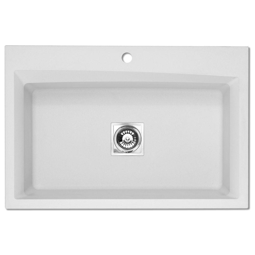 Pegasus Dual Mount Granite 33x22x10 in. 1-Hole Large Single Basin Kitchen Sink in White