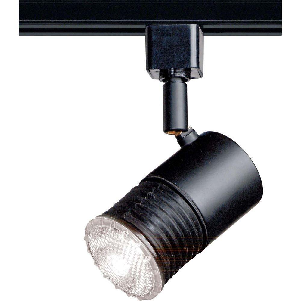 1-Light 2 in. Black Mini Universal Holder Track Lighting Head