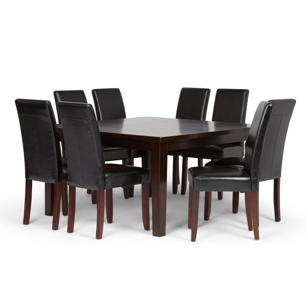 Leather Dining Set: Simpli Home Acadian 9-Piece Dining Set With 8 Upholstered
