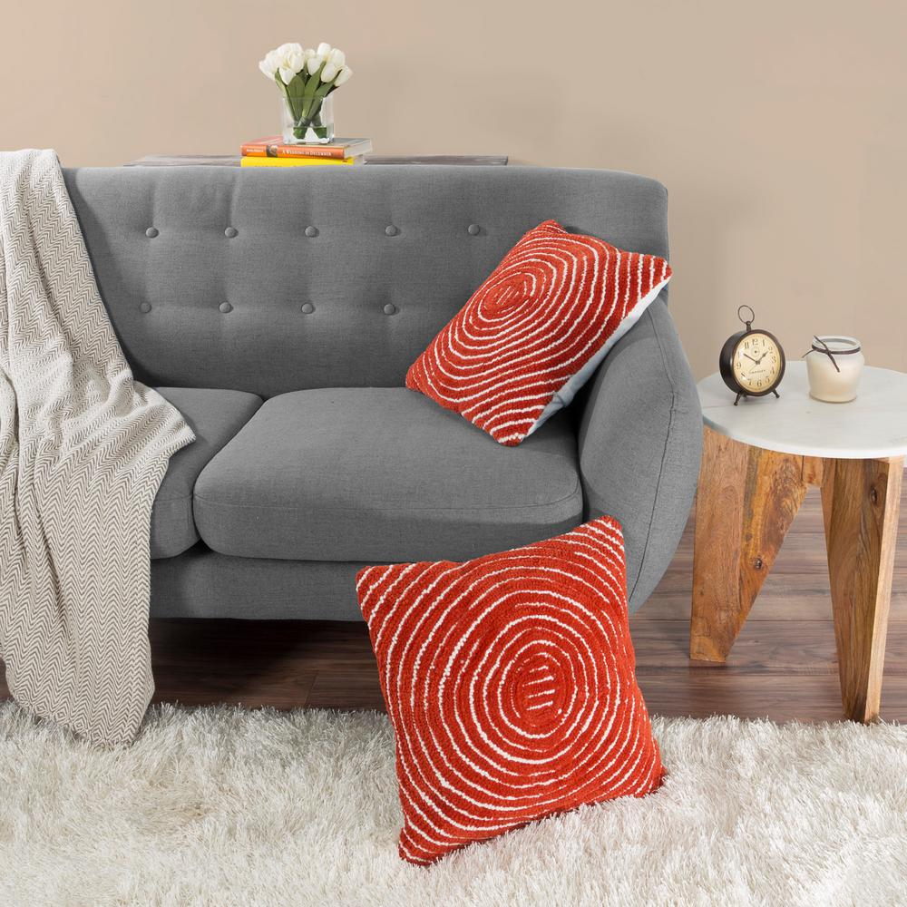Modern Concentric Circle Red Decorative Pillow