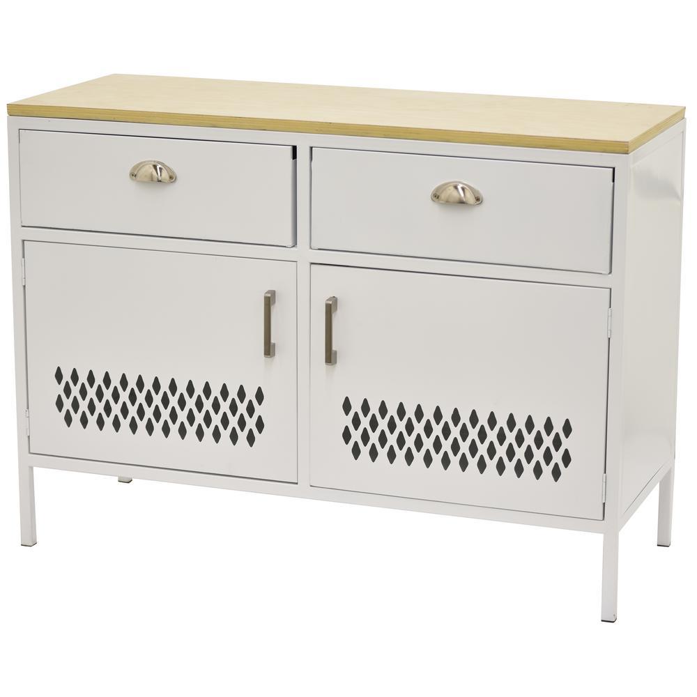 THREE HANDS 29 in. White Metal Storage Cabinet