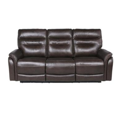Fortuna 3-Seat Dark Brown Leather Power Recliner Sofa