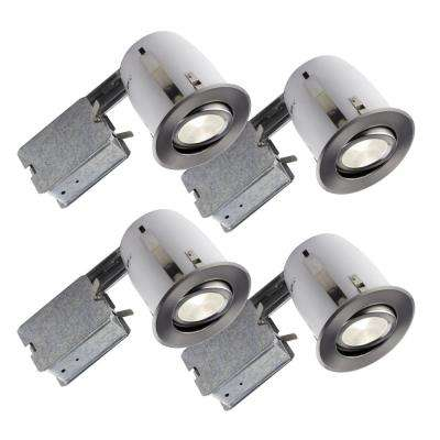 3.85 in. Slim Brushed Chrome Multidirectional Recessed Lighting Fixture (4-Pack)