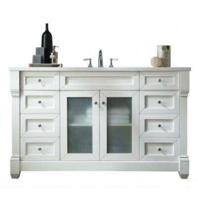 Weston 60 in. W Single Vanity in Cottage White with Solid Surface Vanity Top in Arctic Fall with White Basin