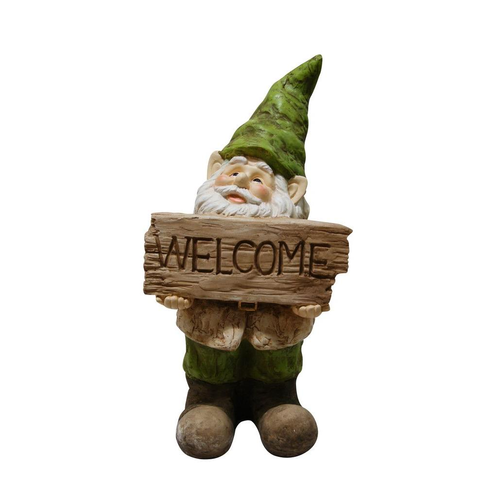 Garden Statues Home Depot: Alpine Gnome With Welcome Sign Statue-GXT500