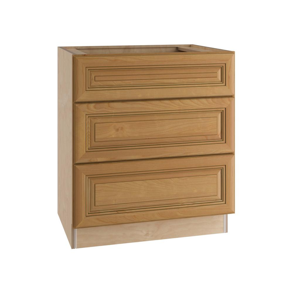 Home Decorators Collection 24x34.5x24 in. Lewiston Assembled Base Cabinet with 3 Drawers in Toffee Glaze