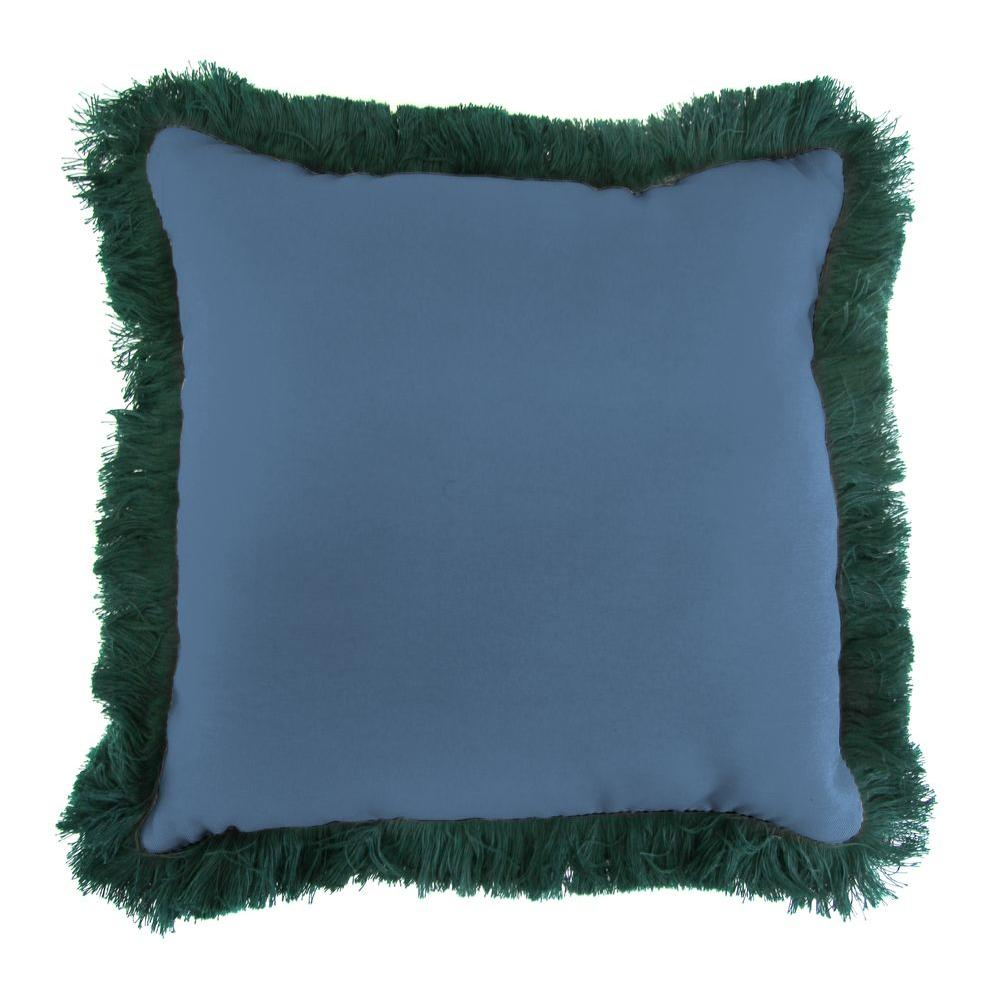 Jordan Manufacturing Sunbrella Canvas Sapphire Blue Square Outdoor Throw Pillow with Forest Green Fringe