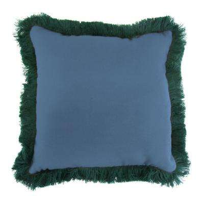 Sunbrella Canvas Sapphire Blue Square Outdoor Throw Pillow with Forest Green Fringe