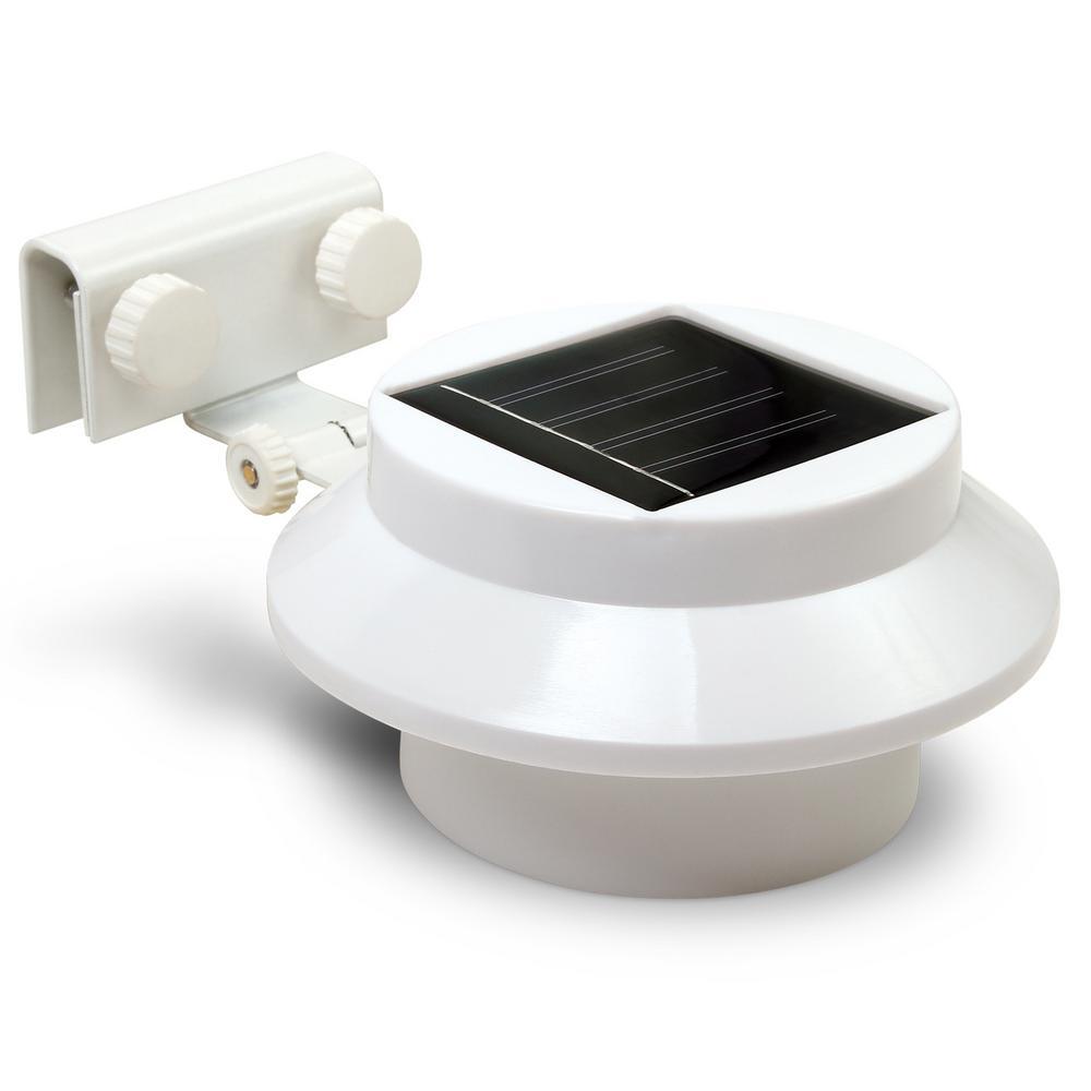 Solar 1.5-Watt White Round Integrated LED Flood Light (2-Pack)