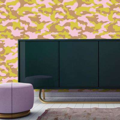 Cynthia Rowley for Tempaper Glammo Pink, Lemon and Gold Self-Adhesive Removable Wallpaper