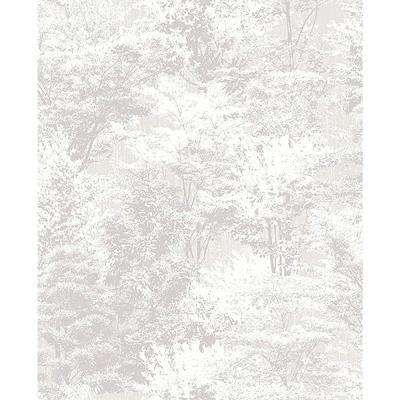 56.4 sq. ft. Camphor Light Grey Trees Wallpaper