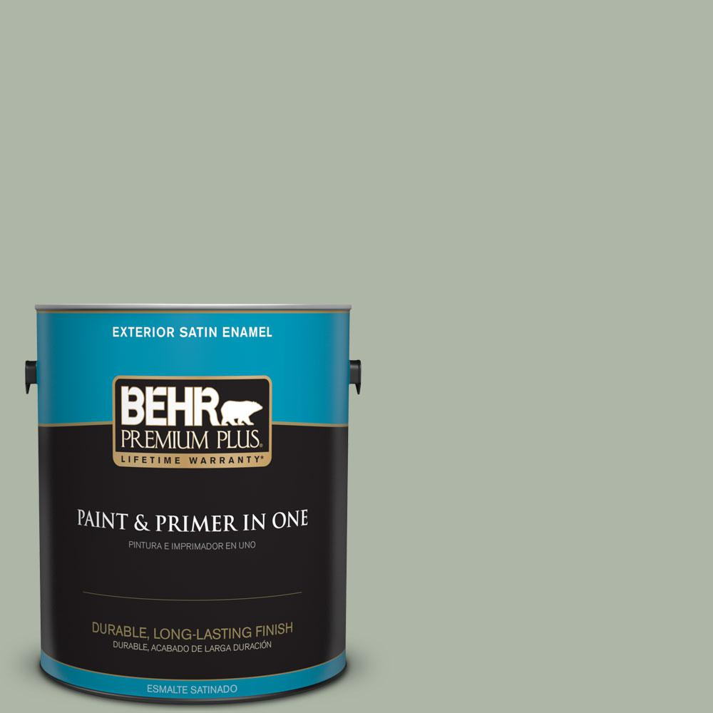 Behr Premium Plus 1 Gal Icc 56 Green Tea Satin Enamel Exterior Paint