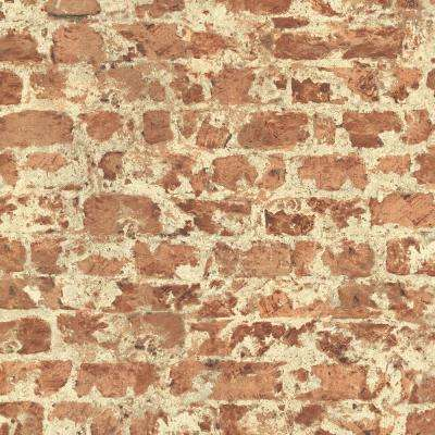 Fairweather Red Distressed Brick Washable Wallpaper Sample