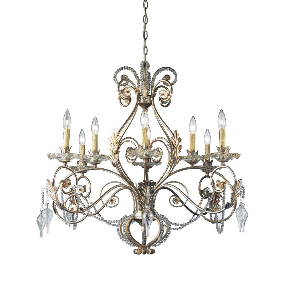 Hampton Bay Allure 8-Light Antique Silver Chandelier - Hampton Bay Allure 8-Light Antique Silver Chandelier-14441-028 - The