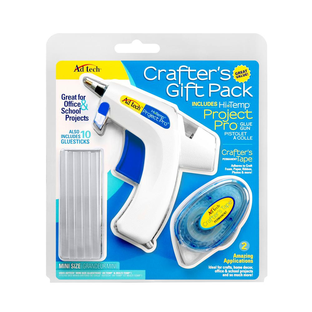 Adtec 20-Watt Crafter's Gift Pack Mini Size Glue Gun with Crafter's Tape and 4 in. x .28 in. Multi-Temp Glue Sticks (10-Pack)