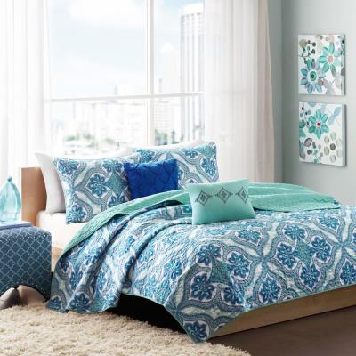 Lana 4-Piece Blue Twin/Twin XL Reversible Coverlet Set