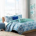Lana 4-Piece Blue Full/Queen Coverlet Set