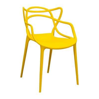 Modern Plastic Yellow Loop Dining Side Chair (Set of 2)