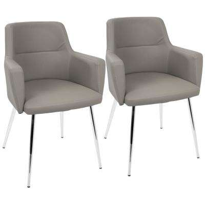 Andrew Contemporary Grey and Chrome Dining/Accent Chair Faux Leather (Set of 2)