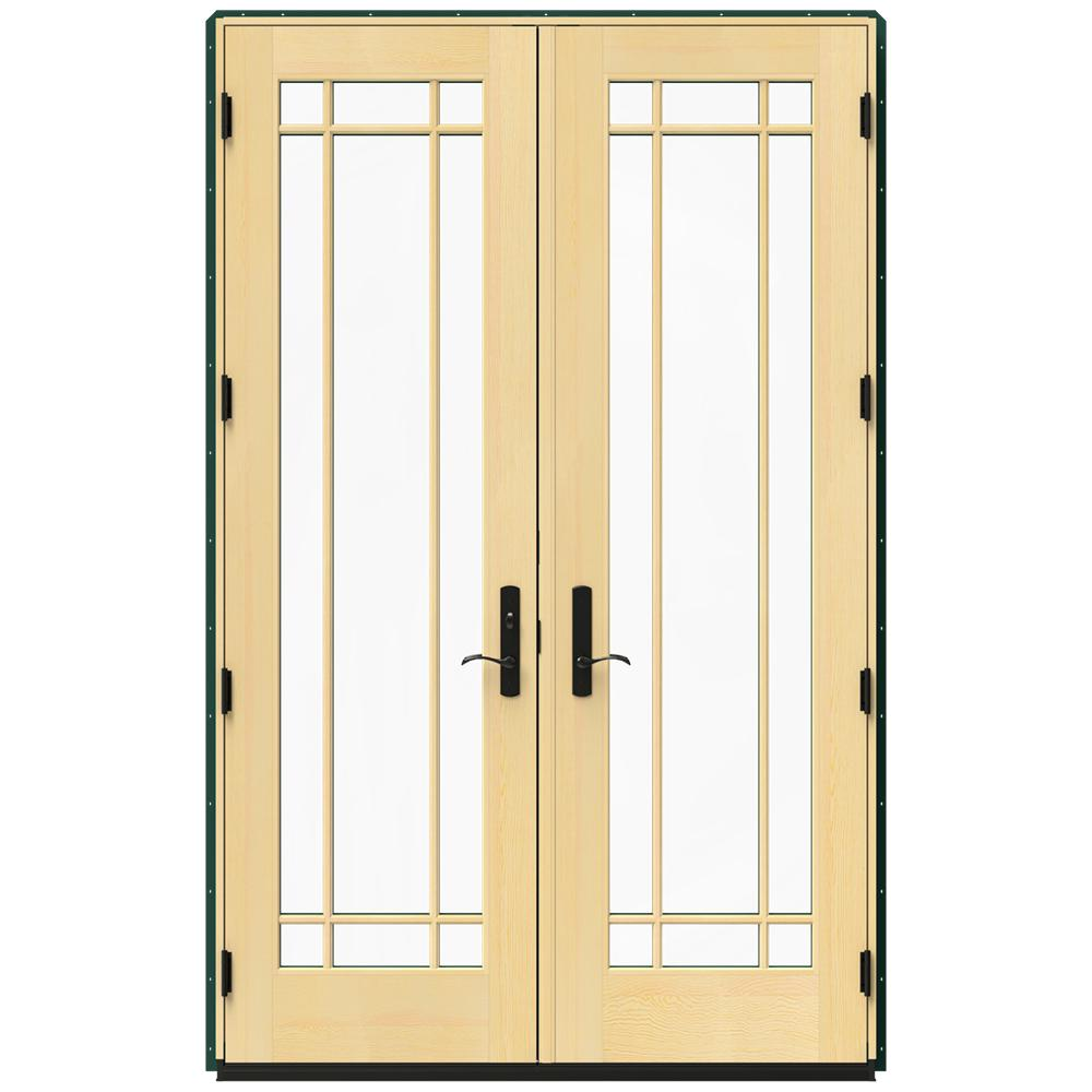 Jeld wen 60 in x 96 in w 4500 green clad wood right hand 9 lite french patio door w lacquered for Jeld wen french doors interior