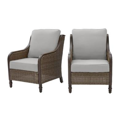 Windsor Brown Wicker Outdoor Patio Lounge Chair with CushionGuard Stone Gray Cushions (2-Pack)