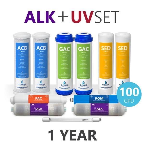 1 Year Reverse Osmosis Alkaline UV System Full Replacement Filter Set - 11 Total Filters With 100 GPD Membrane