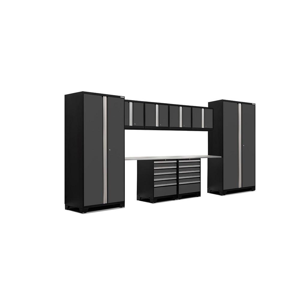 Pro 3.0 83.25 in. H x 184 in. W x 24 in. D 18-Gauge Welded Steel Stainless Steel Worktop Cabinet Set in Gray (10-Piece)