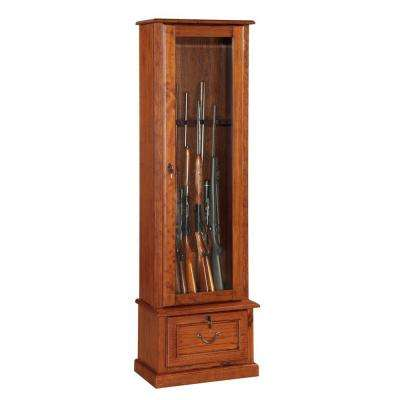 8 Gun Key Locking Gun Cabinet in Brown
