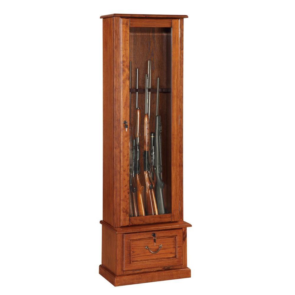 8 Gun Key Locking Gun Cabinet in Brown