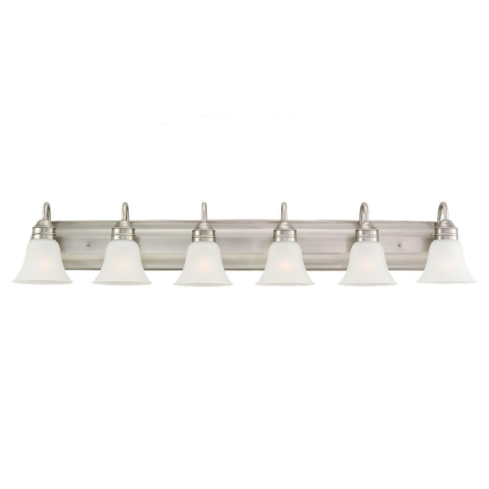 Sea Gull Lighting Gladstone 50 In W 6 Light Antique Brushed Nickel Vanity With Satin Etched Gl
