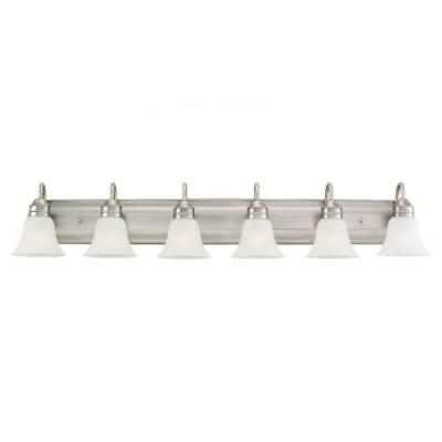 Gladstone 50 in. W 6-Light Antique Brushed Nickel Vanity Light with Satin Etched Glass