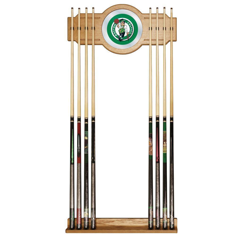 Boston Celtics NBA 30 in. Wooden Billiard Cue Rack with Mirror