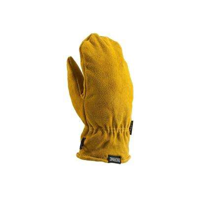 Large Gold Leather Sherpa Lined Mittens