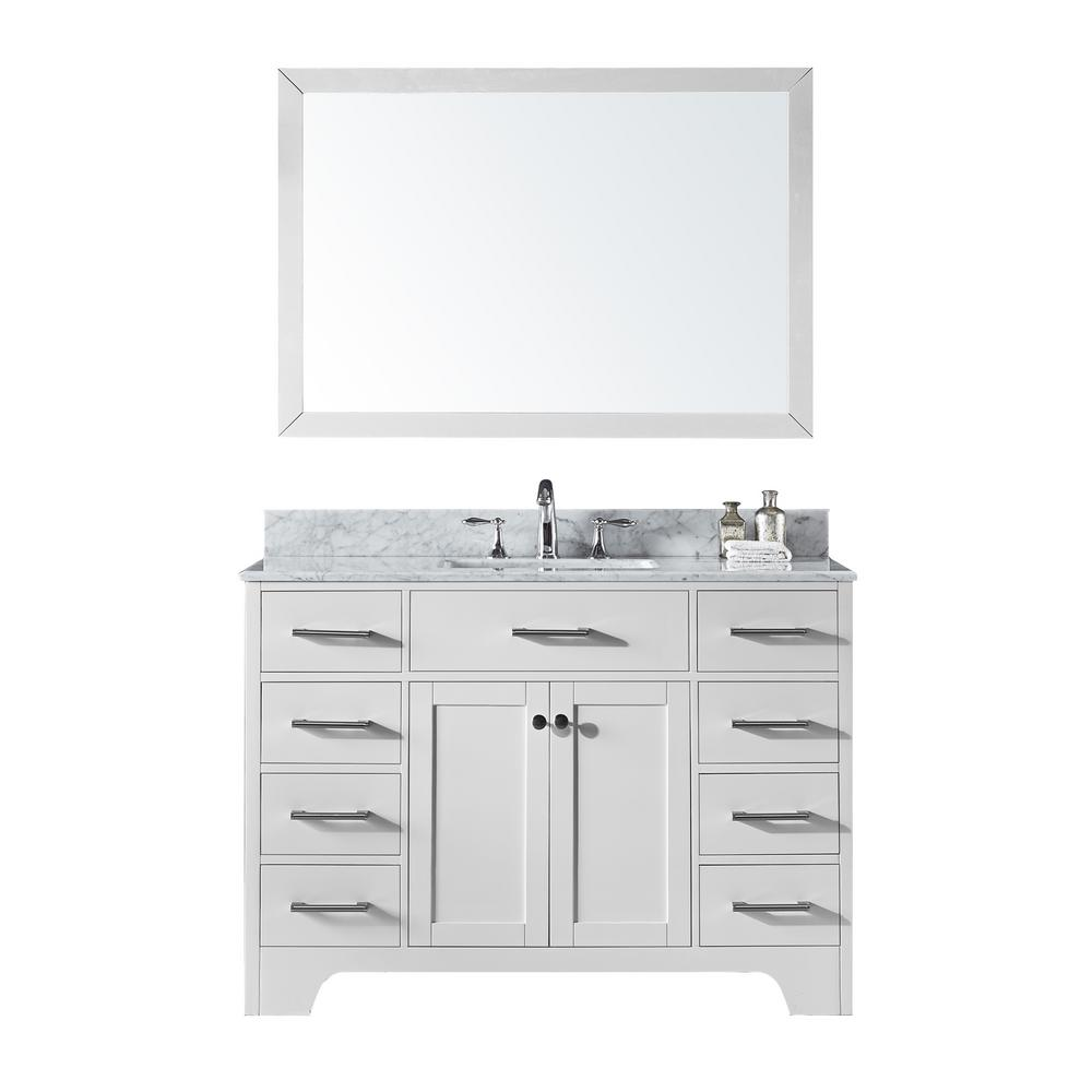Exclusive Heritage 48 In Single Sink Bathroom Vanity In White With Carrara White Marble Top And