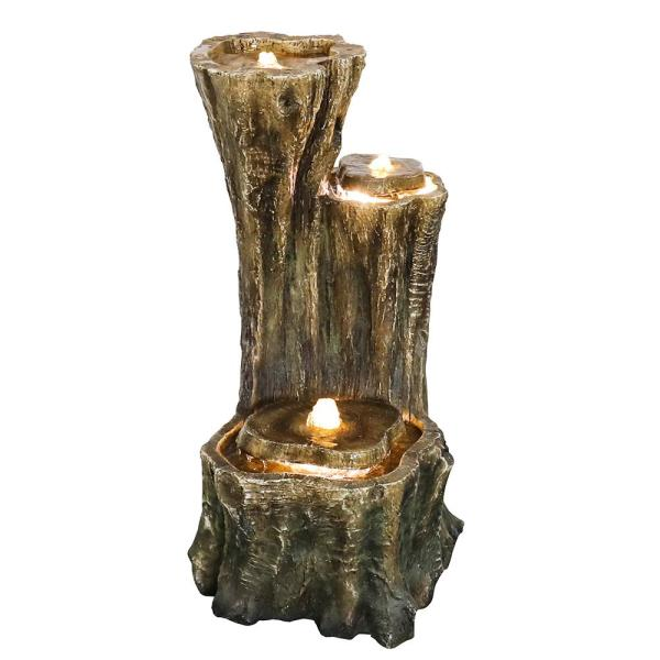 3-Tier Woodland Waterfall Outdoor Cascade Fountain with LED Light
