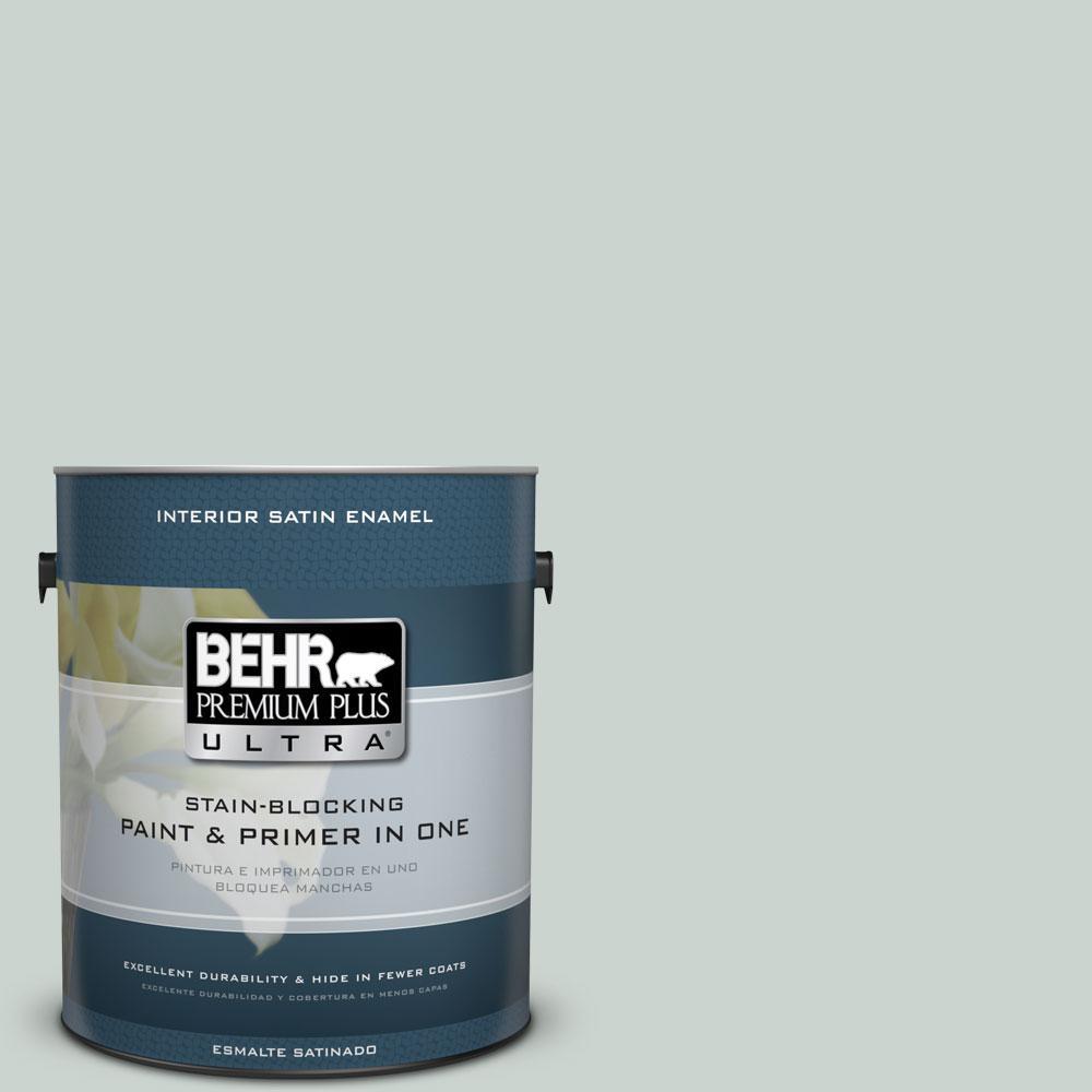 BEHR Premium Plus Ultra 1 gal. #PPU12-11 Salt Glaze Satin Enamel Interior Paint and Primer in One