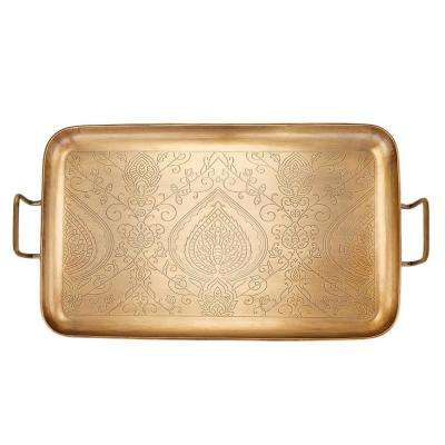 19 in. x 10-1/4 in. x 1 in. Tangier Champagne Tone Etched Tray
