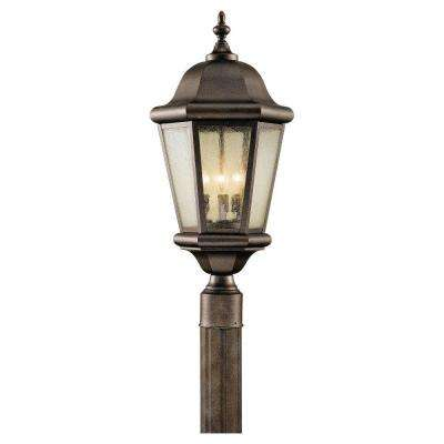 Martinsville 10.25 in. W. 3-Light Corinthian Bronze Outdoor Post Light with Clear Seeded Glass Panels