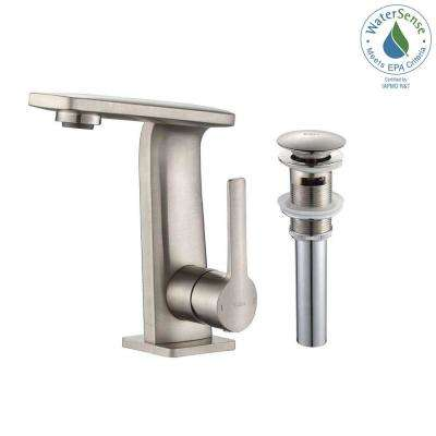 Novus Single Hole Single-Handle Mid-Arc Bathroom Faucet with Matching Pop-Up Drain in Brushed Nickel