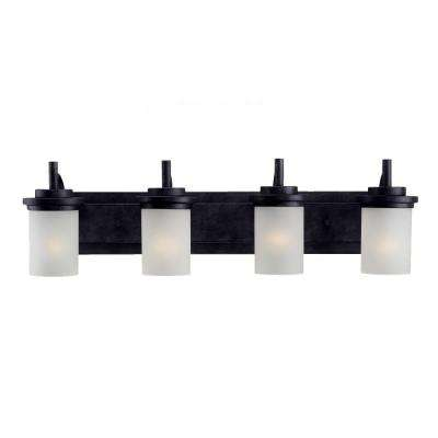 Winnetka 32 in. W 4-Light Blacksmith Vanity Light with Satin Etched Glass