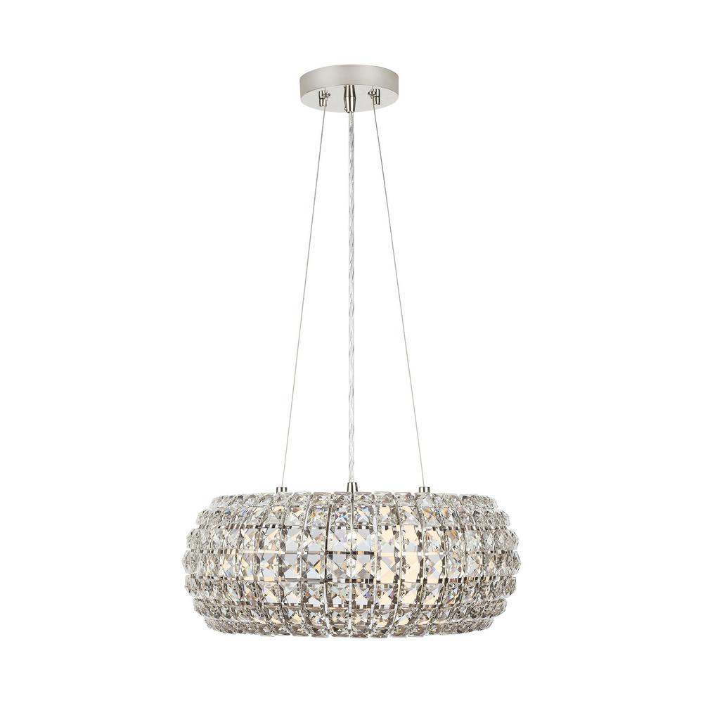 Home Decorators Collection Beatrice 3-Light 16 in. Polished Nickel Crystal Pendant