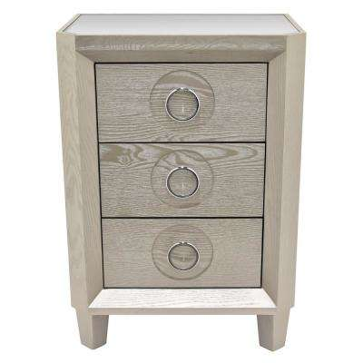 20.25 in. Champagne Wood Cabinet- 3-Drawers