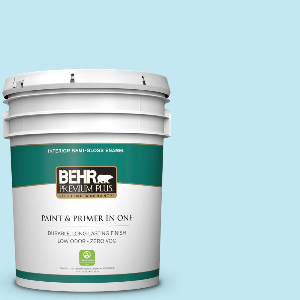 BEHR Premium Plus 5-gal. #P480-1 Niagara Mist Semi-Gloss Enamel Interior Paint