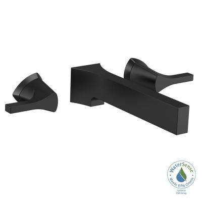 Zura 2-Handle Wall Mount Bathroom Faucet Trim Kit in Matte Black (Valve Not Included)