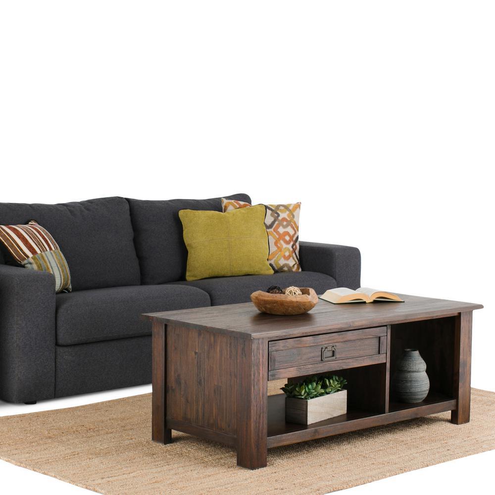 Simpli Home Monroe Distressed Charcoal Brown Storage Coffee Table