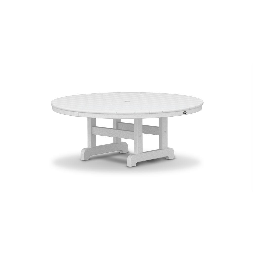 Cape Cod Classic White 48 in. Round Patio Conversation Table