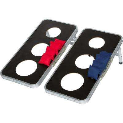 3 Hole Cornhole Bean Bag Toss Set Aluminum Frame in Black
