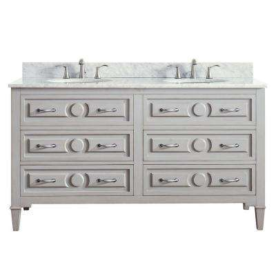 Kelly 61 in. W x 22 in. D x 35 in. H Vanity in Grayish Blue with Marble Vanity Top in Carrera White with White Basin