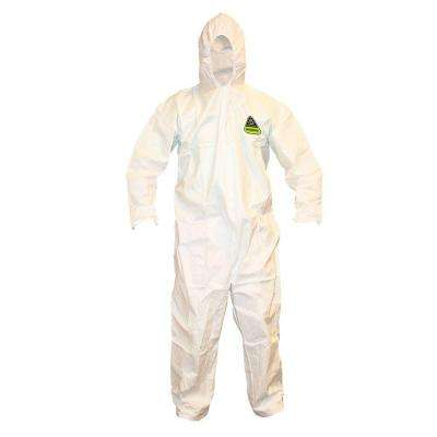 Defender II Male Extra-Large White Coveralls with Attached Hood