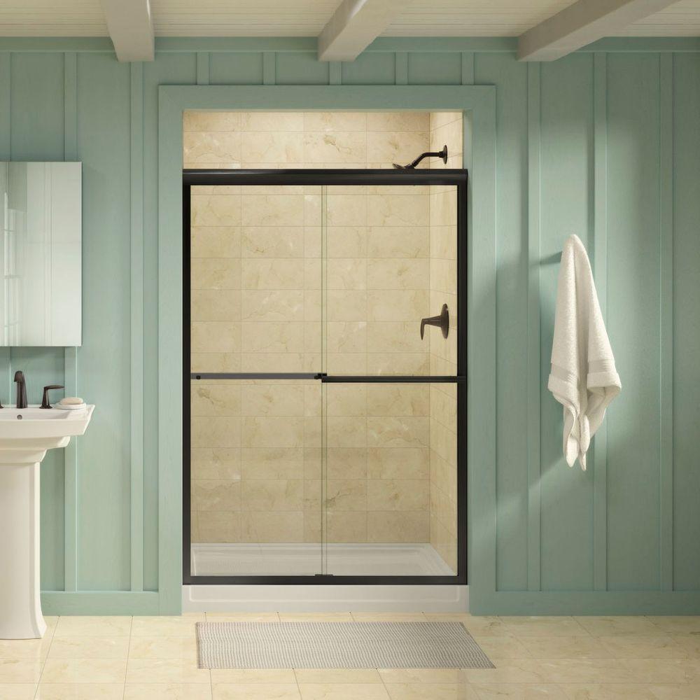 Gradient 47-5/8 in. x 70-1/16 in. Semi-Frameless Sliding Shower Door in